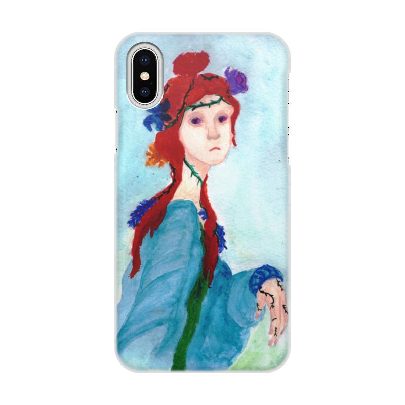 Чехол для iPhone X/XS, объёмная печать Printio Девушка и цветы