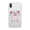"""Чехол для iPhone X/XS, объёмная печать """"Розовый поросёнок с бенгальскими огнями"""" - арт, счастье, свин, розовый поросенок, бенгальский огонь"""