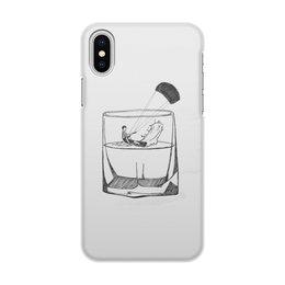 """Чехол для iPhone X/XS, объёмная печать """"Кайтер в бокале"""" - кайт"""