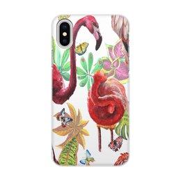 "Чехол для iPhone X/XS, объёмная печать ""Птица"" - лето, птицы, природа, тропики, фламинго"