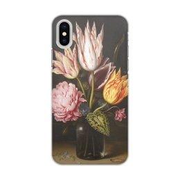 """Чехол для iPhone X/XS, объёмная печать """"Букет из тюльпанов, роз, клевера, и цикламен"""" - цветы, картина, босхарт"""