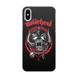 """Чехол для iPhone X/XS, объёмная печать """"МУЗЫКА. MOTORHEAD"""" - череп, эмблема, рок-группа, стиль надпись логотип яркость"""