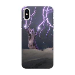 """Чехол для iPhone X/XS, объёмная печать """"Кот Тесла"""" - мем, гроза, cat, котик, молния"""