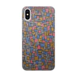 """Чехол для iPhone X, объёмная печать """"Композиция (Питер Мондриан)"""" - картина, живопись, мондриан"""