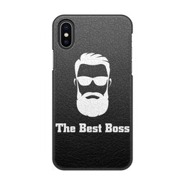 "Чехол для iPhone X/XS, объёмная печать ""The best boss with beard"" - босс, начальник, boss, боссу, начальнику"