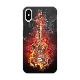 """Чехол для iPhone X, объёмная печать """"МУЗЫКА. ГИТАРА"""" - фэнтези, огонь, красота, яркость, стиль"""