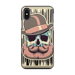 """Чехол для iPhone X/XS, объёмная печать """"Бородатый череп"""" - череп, джентельмен, борода, усы"""