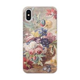 "Чехол для iPhone X/XS, объёмная печать ""Цветочный натюрморт (Ян ван Хёйсум)"" - цветы, картина, живопись, натюрморт, ян ван хёйсум"