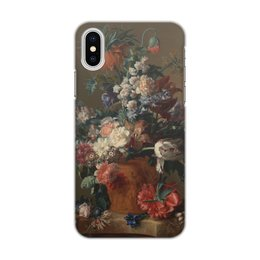 "Чехол для iPhone X/XS, объёмная печать ""Ваза с цветами (Ян ван Хёйсум)"" - цветы, картина, живопись, натюрморт, ян ван хёйсум"