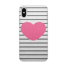 """Чехол для iPhone X/XS, объёмная печать """"Сердце"""" - сердца"""