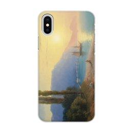 """Чехол для iPhone X/XS, объёмная печать """"Закат в Ялте (картина Айвазовского)"""" - картина, пейзаж, живопись, крым, айвазовский"""