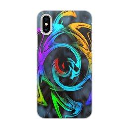 """Чехол для iPhone X/XS, объёмная печать """"Узор красок"""" - цветы, космос, пятна, краски, абстракция"""