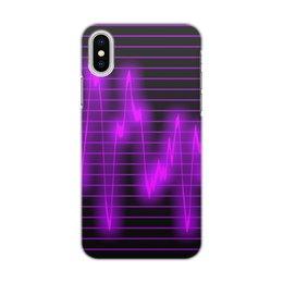 """Чехол для iPhone X/XS, объёмная печать """"Мелодия"""" - музыка, узор, звук, краски, звуковая волна"""