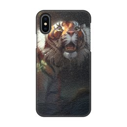 """Чехол для iPhone X/XS, объёмная печать """"Шерханистый тигр"""" - хищник, удивленный тигр, полосатый хищник, тигр из мултфильма, тигриный"""