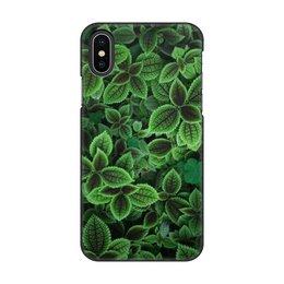 """Чехол для iPhone X, объёмная печать """"Мята                                     """" - цветы, фото, мята"""