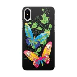 """Чехол для iPhone X, объёмная печать """"БАБОЧКИ ФЭНТЕЗИ"""" - яркость, бабочки, красота, фэнтези, стиль"""