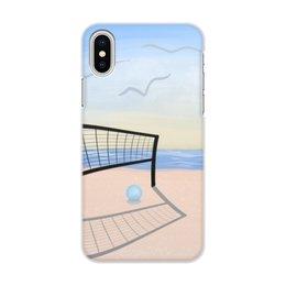 """Чехол для iPhone X/XS, объёмная печать """"Пляжная вечеринка"""" - лето, море, отдых, пляж, волейбол"""