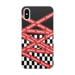 "Чехол для iPhone X/XS, объёмная печать ""Supreme"" - надписи, бренд, brand, supreme, суприм"