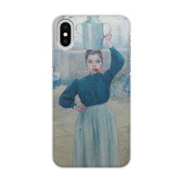"""Чехол для iPhone X/XS, объёмная печать """"Деревенская девочка с красной гвоздикой"""" - картина, импрессионизм, живопись, гиард"""