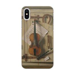 """Чехол для iPhone X/XS, объёмная печать """"Натюрморт со скрипкой (Уильям Харнетт)"""" - картина, живопись, уильям харнетт"""