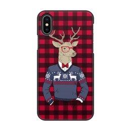 """Чехол для iPhone X/XS, объёмная печать """"Олень Хипстер"""" - новый год, клетка, олень, хипстер"""