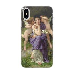 """Чехол для iPhone X/XS, объёмная печать """"Песни весны (картина Вильяма Бугро)"""" - картина, академизм, живопись, мифология, бугро"""