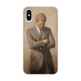 """Чехол для iPhone X/XS, объёмная печать """"Портрет президента Джона Ф. Кеннеди."""" - картина, сша, президент, живопись, аарон шиклер"""