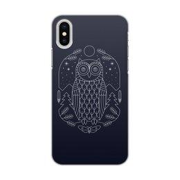"""Чехол для iPhone X/XS, объёмная печать """"Ночной страж"""" - ночь, сова, геометрия, минимализм, страж"""