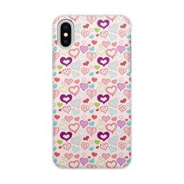 """Чехол для iPhone X/XS, объёмная печать """"Сердечки"""" - сердце, любовь, день святого валентина"""