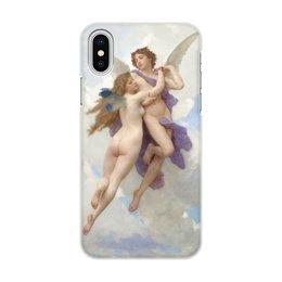 """Чехол для iPhone X/XS, объёмная печать """"Амур и Психея (Вильям Бугро)"""" - ангел, картина, живопись, купидон, бугро"""