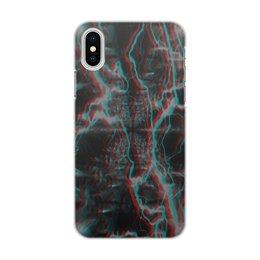 """Чехол для iPhone X/XS, объёмная печать """"Молния"""" - узор, космос, краски, абстракция, молния"""