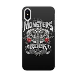 """Чехол для iPhone X/XS, объёмная печать """"МУЗЫКА. MONSTERS ROCK"""" - черепа, эмблема, розы, стиль надпись логотип яркость"""