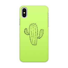 """Чехол для iPhone X/XS, объёмная печать """"кактус"""" - цветы, растения, кактус, иголки, кактусы"""
