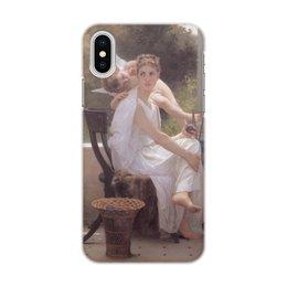 """Чехол для iPhone X/XS, объёмная печать """"Прерванная работа (Вильям Бугро)"""" - картина, живопись, купидон, амур, бугро"""