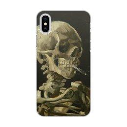 """Чехол для iPhone X/XS, объёмная печать """"Череп с горящей сигаретой (Винсент Ван Гог)"""" - картина, ван гог, живопись"""