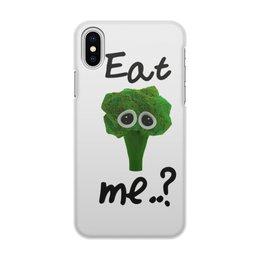 """Чехол для iPhone X/XS, объёмная печать """"Eat me..?"""" - broccoli"""