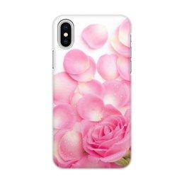 """Чехол для iPhone X/XS, объёмная печать """"Лепестки розы"""" - цветы, розы"""
