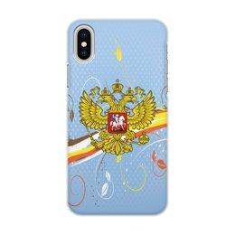 """Чехол для iPhone X/XS, объёмная печать """"Россия"""" - цветы, россия, герб, орел, хохлома"""