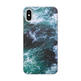 """Чехол для iPhone X/XS, объёмная печать """"Бескрайнее море"""" - море, свобода, океан, чайки, дайвинг"""