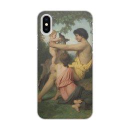 "Чехол для iPhone X/XS, объёмная печать ""Идиллия в античном семействе (Вильям Бугро )"" - картина, живопись, бугро"