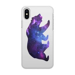 "Чехол для iPhone X/XS, объёмная печать ""Space animals"" - space, bear, медведь, космос, астрономия"