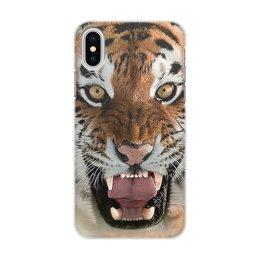 """Чехол для iPhone X/XS, объёмная печать """"ТИГРЫ. ЖИВАЯ ПРИРОДА"""" - хищник, животные, стиль эксклюзив креатив красота яркость, арт фэнтези"""