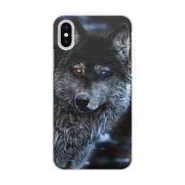 """Чехол для iPhone X/XS, объёмная печать """"ВОЛКИ ФЭНТЕЗИ"""" - стиль, красота, фэнтези, волк, разноцветные глаза"""