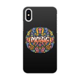 """Чехол для iPhone X/XS, объёмная печать """"Music"""" - музыка, music, музыкальные инструменты, ноты"""