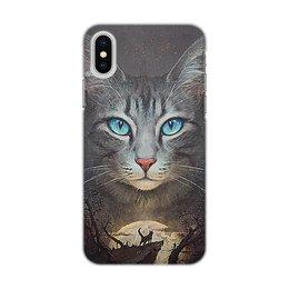 """Чехол для iPhone X/XS, объёмная печать """"КОШКИ ФЭНТЕЗИ"""" - животные, ночь, магия, стиль эксклюзив креатив красота яркость, арт фэнтези"""