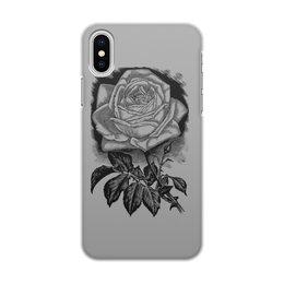 """Чехол для iPhone X/XS, объёмная печать """" Цветок"""" - цветы, роза, розы, букет, шипы"""
