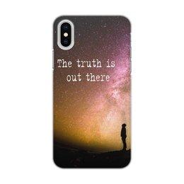"""Чехол для iPhone X/XS, объёмная печать """"X-files"""" - фраза, космос, истина, x files, истина где-то рядом"""
