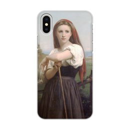 "Чехол для iPhone X/XS, объёмная печать ""Юная пастушка (картина Вильяма Бугро)"" - картина, академизм, живопись, бугро, крестьянка"