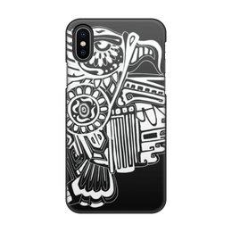 """Чехол для iPhone X, объёмная печать """"Феникс"""" - линия, руками, атцеки, maya, кетцаль"""