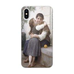 """Чехол для iPhone X/XS, объёмная печать """"Объятия (картина Вильяма Бугро)"""" - картина, поцелуй, академизм, живопись, бугро"""